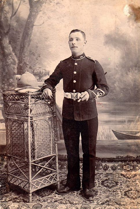 Photo taken in Agra India of John Ernest Dalley - private 8322 1st Bn. Royal Welsh Fusilliers died WW1- 21, Oct. 1914 buried Ypres , Menin Gate Cemetary