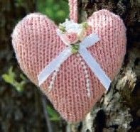 Knitted heart pattern.