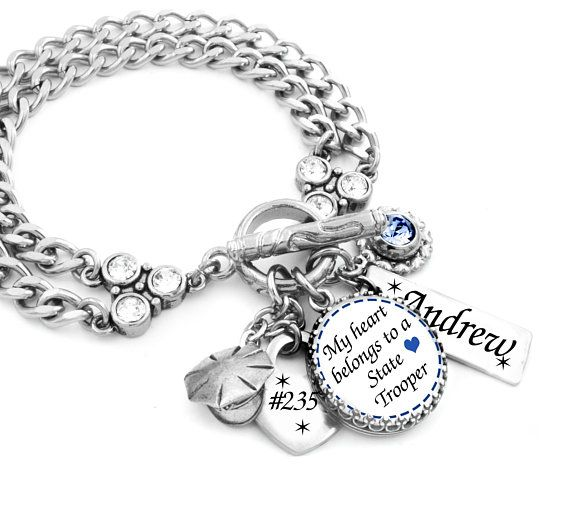 Police Wife Trooper Badge Number Police Officer Gift Deputy Wife Jewelry Police Girlfriend Bracelet