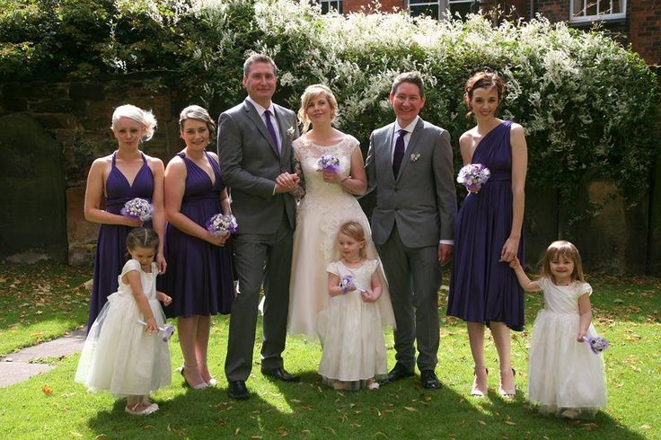 Everybody in this picture has something from Adore Button Bouquets! The bride (of course!), bridesmaids, flower girls and the groom!