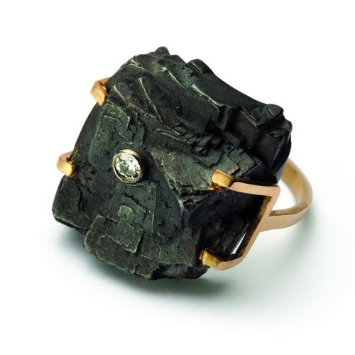 "Kama Rohn - ""Coal and time"", ring, gold, silver, diamond  Camilla continues the family tradition. Her designs are feminine, light, poetic. As she says about herself: ""Zebras, elephants, birds, turtle and dragonfly, leaf and snow flake, and other wonders of nature are the subject of 40 years of my projects. The family, a few friends and trusty cat are the most important for me any longer. ""Camilla Rohn works have been presented at several exhibitions in the country, among others. OPFZ…"
