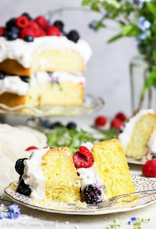 Gâteau végétalien à la vanille et aux baies d'été sans gluten {gluten, produits laitiers, œuf, noix, etc.   – F∞d