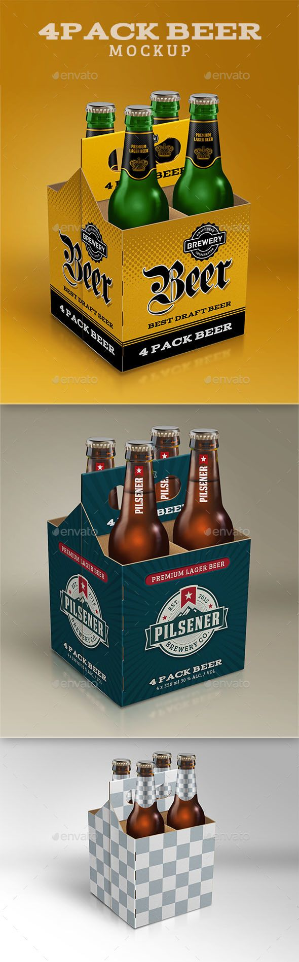Download 4 Pack Beer Mockup | Beer bottle template, Beer, Beer box