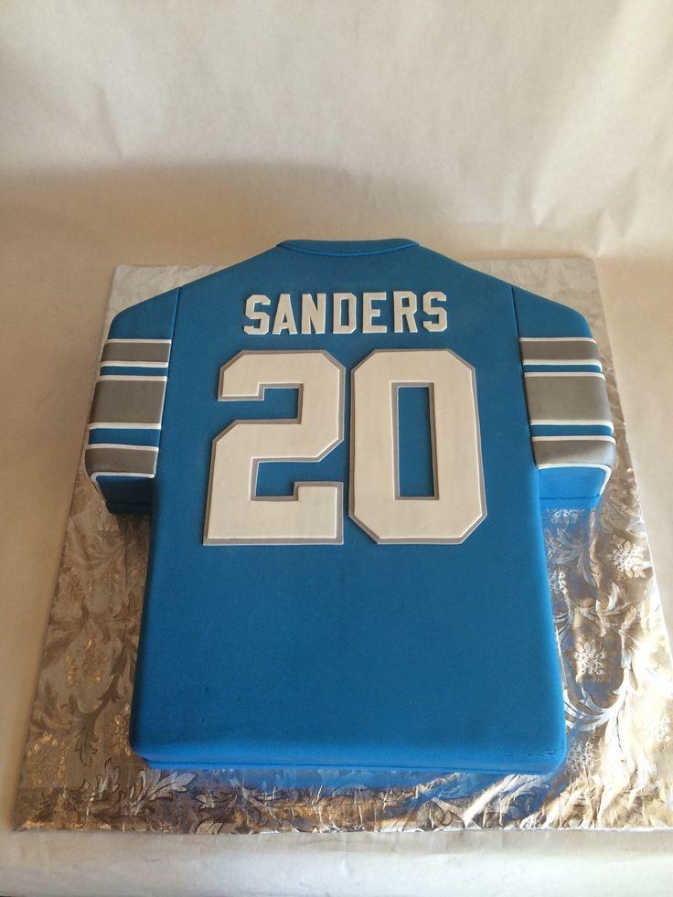 Detroit Lions fan | Barry Sanders jersey cake | detroit lions | fondant | groom's cake
