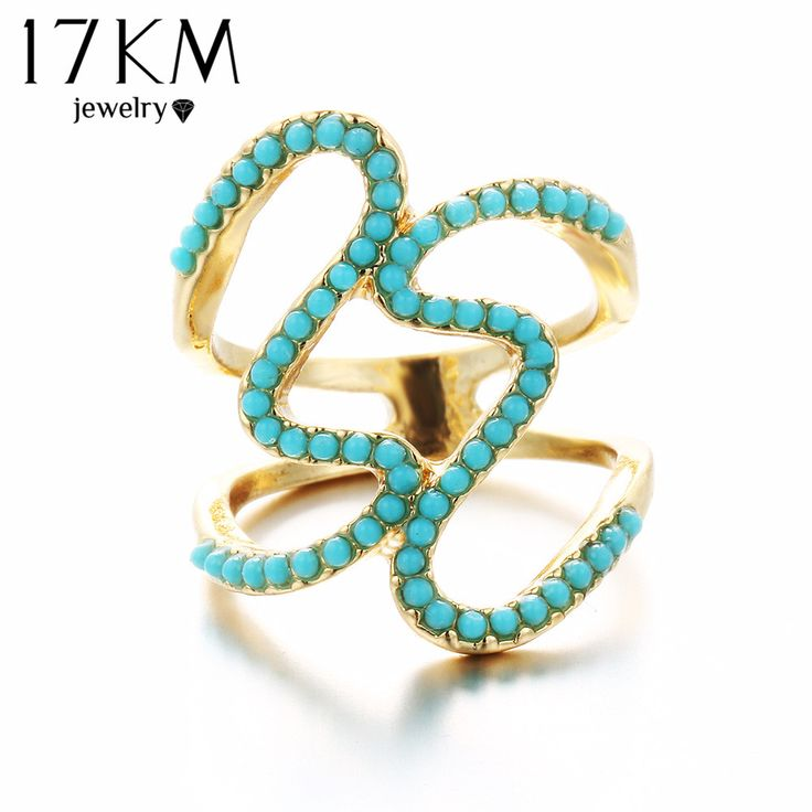 17KM Brand New Vintage Black and Blue Bead Ring Midi Ring Steampunk Crystal Joint Knuckle Resin Rings for Women Gift