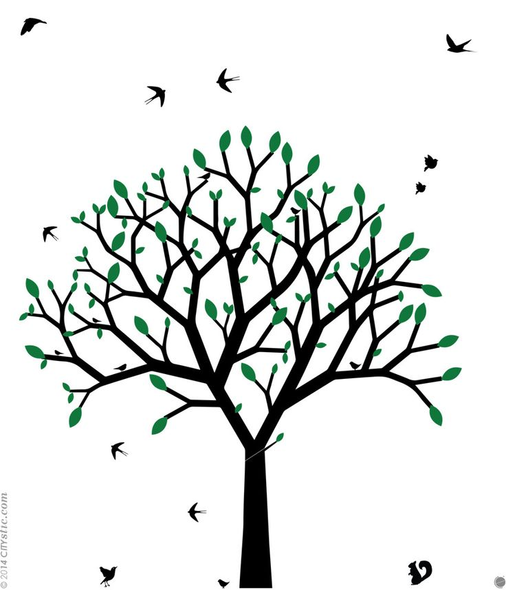 Sticker mural arbre graphique arbre au printemps design for De l arbre au meuble
