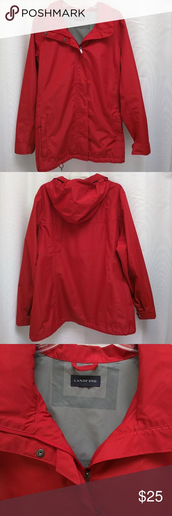 Lands' End all weather jacket EUC Land's End jacket.  Great Lands' End quality.  2 front zippered pockets.  2 inside mesh pockets.  Adjustable cuff closure.  Bottom draw string.  Hood can be folded and stored under collar.  IMHO runs on the large side. Lands' End Jackets & Coats