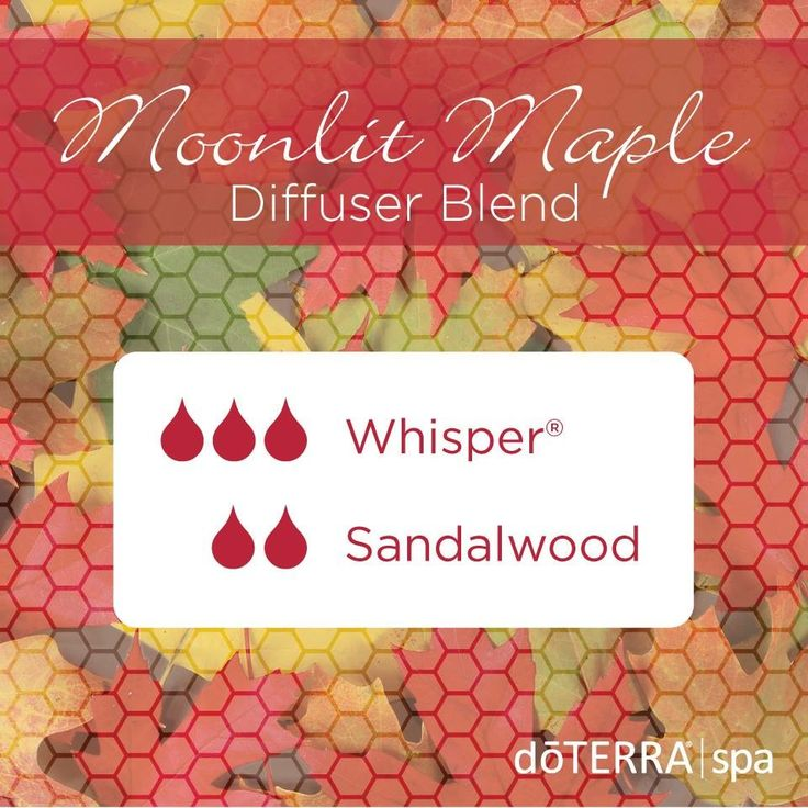 Take a stroll under a moonlit canopy of Maples with the enticing scents of doTERRA Whisper® and Sandalwood. This aromatic blend will help to enhance mood and to intrigue the senses and will be diffused all week long at the doTERRA® Spa. #essentials2you #essentialoils #diffuser #doterra www.mydoterra.com/deannaschuller