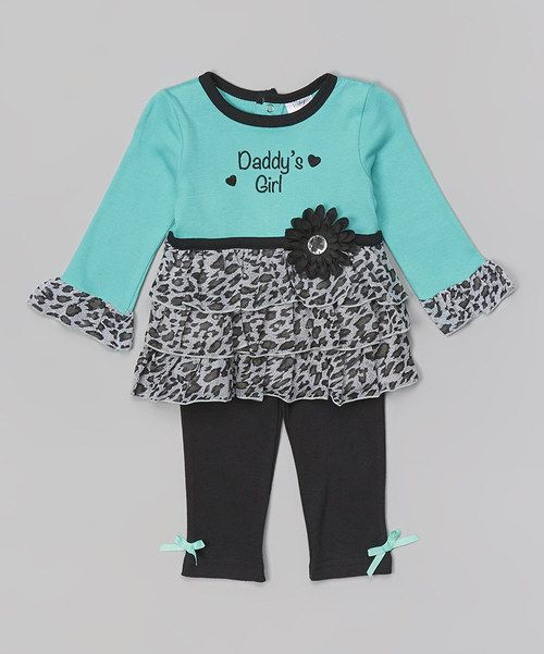 Look at this Baby Essentials Turquoise Leopard 'Daddy's Girl' Tunic & Leggings on #zulily today!
