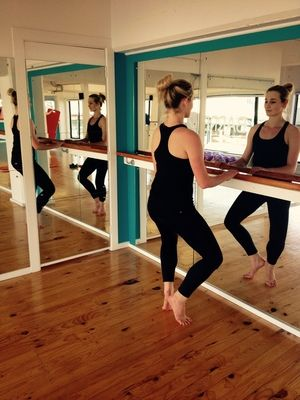 Our instructor, Danni Finnie, demonstrating turnout at the barre  http://www.barrenz.co.nz/barre-project/