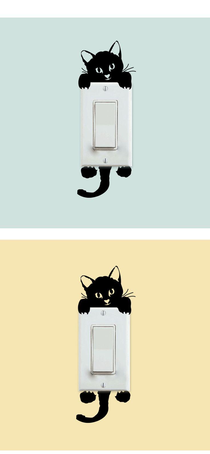 Diy engraçado bonito interruptor gato adesivos de parede adesivos decoração da casa quarto Parlor decoração em Papéis de parede de Casa & jardim no AliExpress.com | Alibaba Group