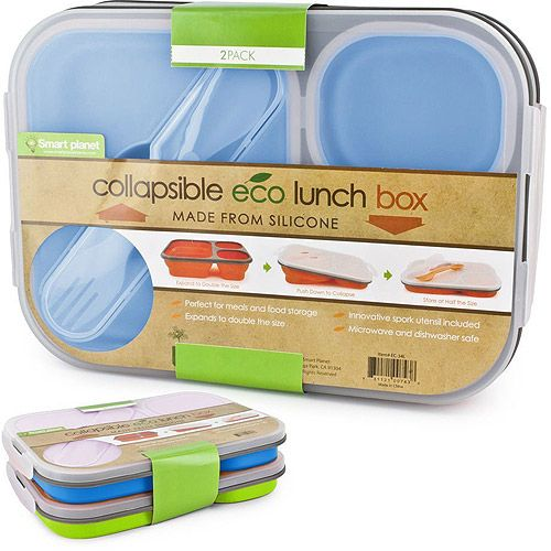 Smart Planet Collapsible Eco Lunch Box: Comes in 3 cute colors, and is reusable. Instead of using disposable lunch containers, use this everyday. It is dishwasher save and has 3 compartments. #WalmartGreen