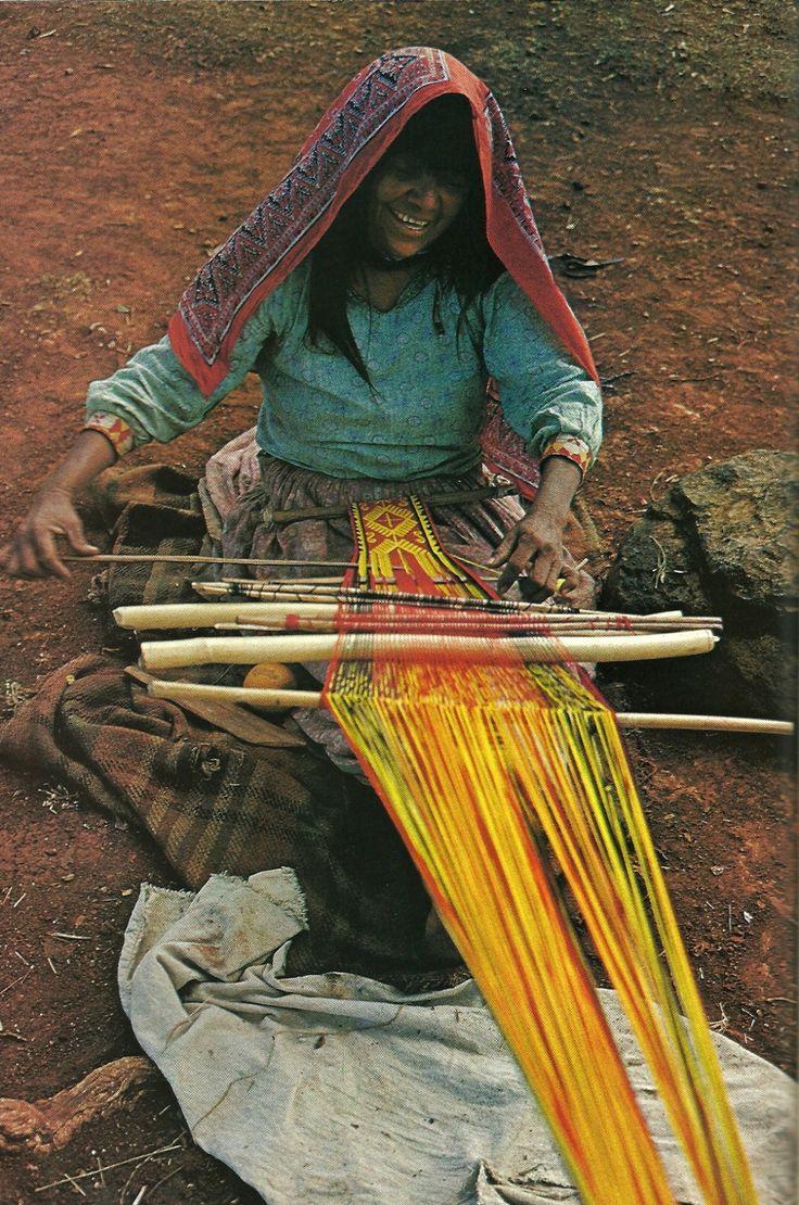 Mexican Huichol woman weaves a sash for her husband National Geographic | June 1977
