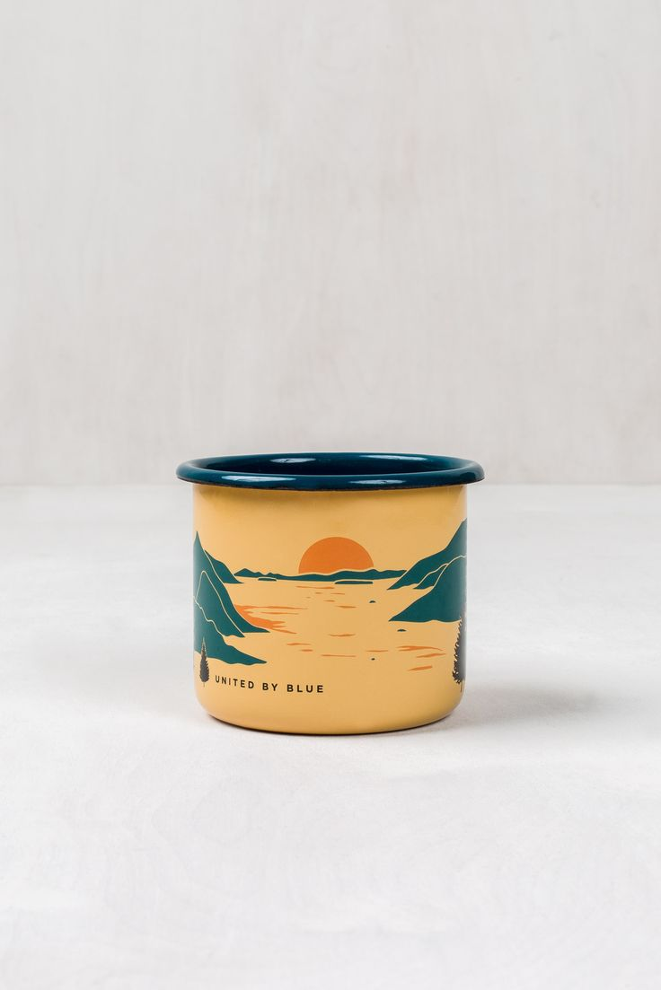"""Hand-dipped enamel with a double layer on the handle and rim for extra durability. Campfire and Dishwasher safe. Hand-made in Europe 3.5"""" x 3"""" 12 oz For every product sold, United By Blue removes one"""