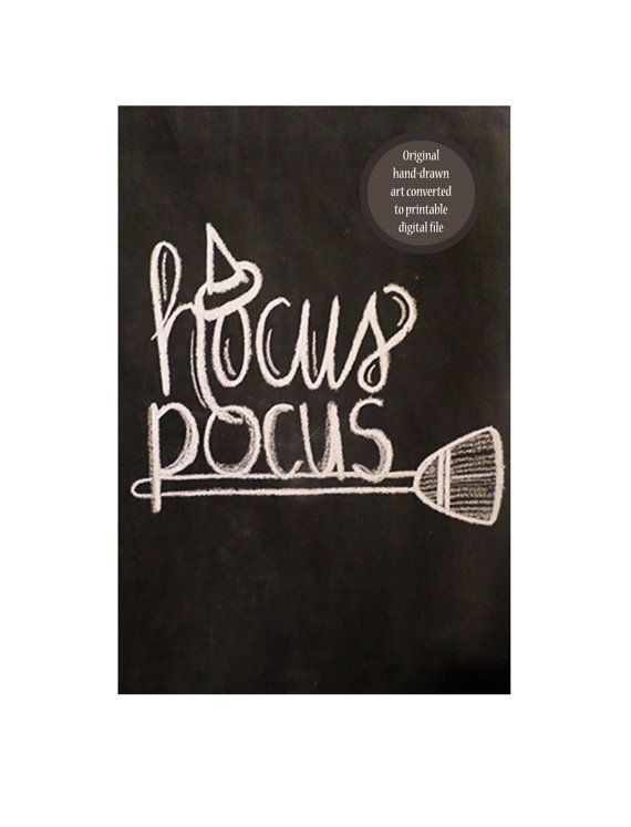 Hocus Pocus Halloween Handdrawn Chalkboard Art by FunkyOldPatina, $9.50