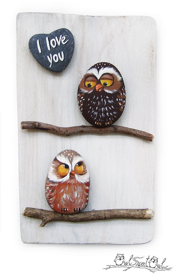 Unique Handmade 'I Love You' Owls Artwork  3-D by owlsweetowl