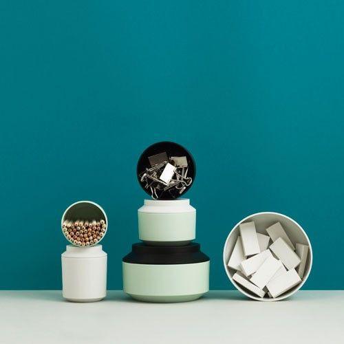 Normann Copenhagen - Geo Jar w. Lid Ø15 mint/black