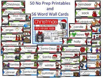 Christmas Fun! Christmas for Kinder Kids has 50 fun Language and Math Christmas themed NO PREP printables PLUS 56 illustrated Christmas Word Wall cards. $