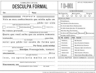 REVISTA AMÉLIA - a revista da mulher de verdade: Formulário Oficial : Desculpa Formal - Ideal para o namorado que apronta muito