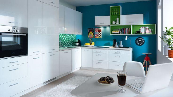 New HIGH GLOSS WHITE Kitchen Set Tapo Plus   Modern Corner Complete Kitchen LED