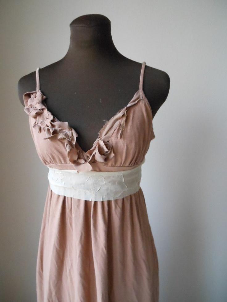 Rustic Creme Brulee Wedding Dress Tattered Beach Earthy Alternative Wedding Boho Chic Bridesmaid Reception Dress