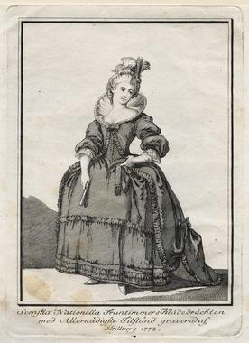 """Gustaf III:s nationella dräkt. """"Svenska Nationella Fruntimmers Klädedräckten"""". Gravyr från 1778 av Jacob Gillberg (1724-1793) Nordiska Museet NMA.0054235"""
