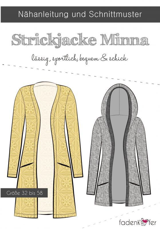 Papierschnittmuster - Minna - Strickjacke - Nähen - Damen - Schnittmuster - Jacke - Fadenkäfer - Glückpunkt.
