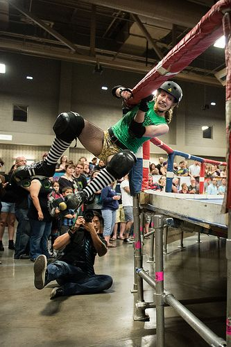Banked Track Roller Derby-TXRD-Texas Roller Derby, Milla Juke-a-Bitch of the Cherry Bombs- Good save from solid hit!