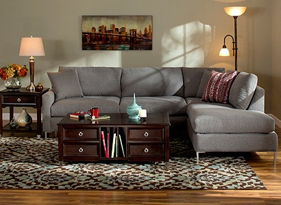 Love the gray couch...