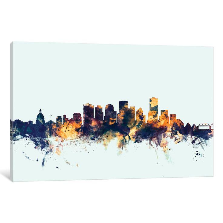 iCanvas 'Skyline Series: Edmonton, Canada On Blue' by Michael Tompsett Canvas Print