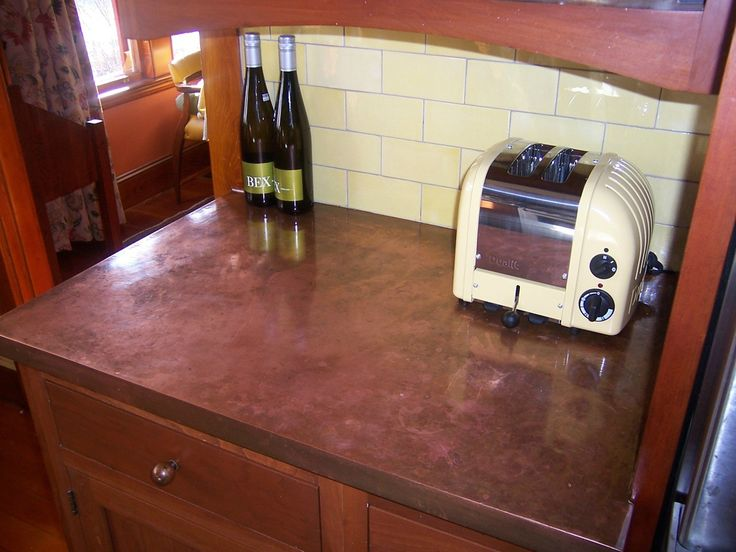 Awesome Copper Countertop And Subway Tiles.