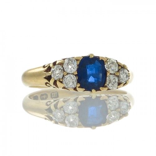 Victorian Carved Sapphire Ring
