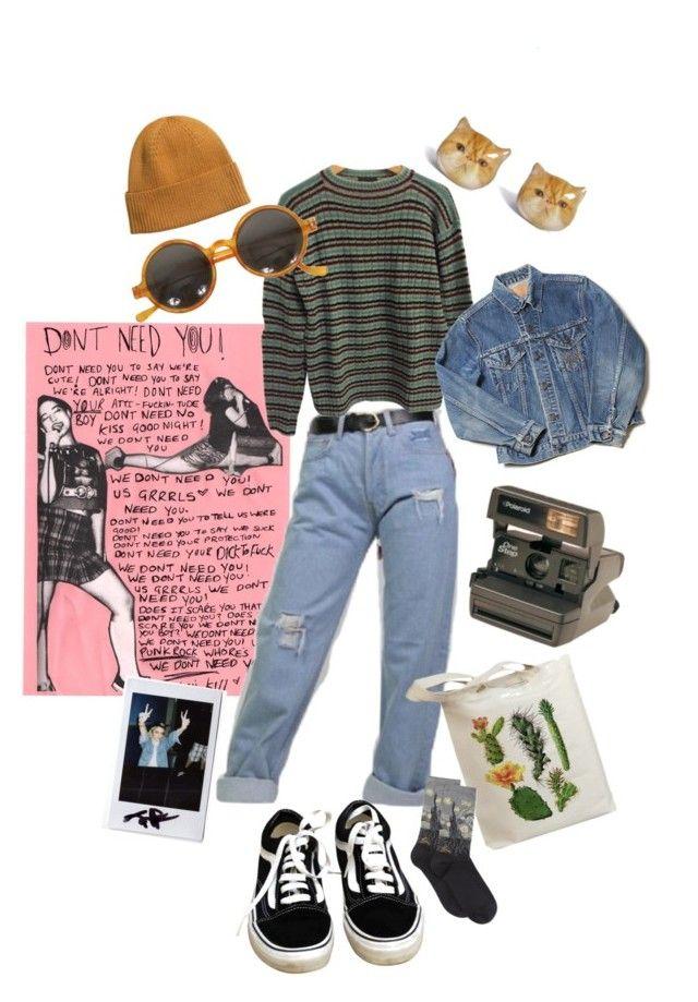 """Green girl"" by alklncirem on Polyvore featuring moda, Prada, Vans, Polaroid, Retrò, HOT SOX ve H&M"