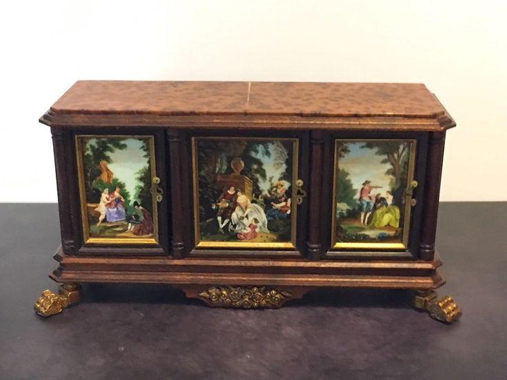 Best GILBERT MENA Miniature Cabinet Handpainted Panels Gil Mena Doll Furniture