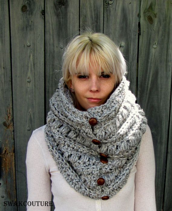 Womens Scarf Chunky Cowl 6 Button Wool Cowl Scarf Knitted Snood Cowl Unisex Cowl Gray Tweed or Choose Your Color