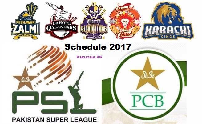 PSL Schedule 2017 – Fixture