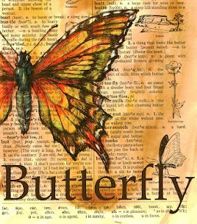 -  Butterfly Drawing on Distressed Dictionary Page