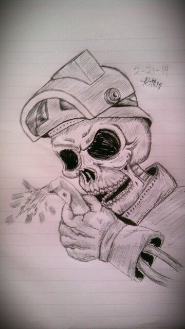 Welder skull tattoo sketch