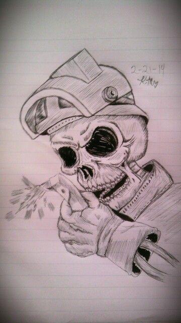 Welder Skull Tattoo Sketch My Art 3 Amp Stuff Pinterest