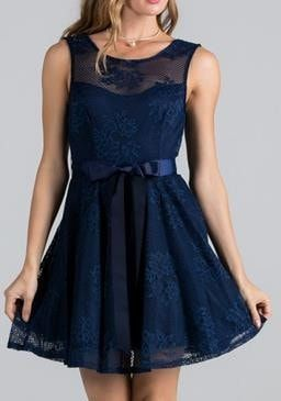 Point Of Perfection Illusion Navy Blue Lace Tulle Dress