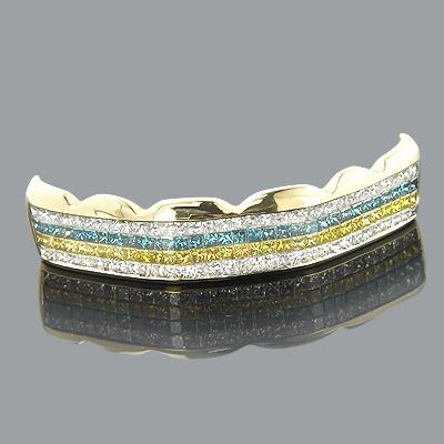 These 14K Gold White Blue Yellow Real Diamond Grillz from our bling bling hip hop jewelry collection weigh approximately 7 grams and showcase 4.73 carats of dazzling fancy blue, white and canary yellow princess cut diamonds, each invisibly set in a lustrous yellow gold frame. Featuring a unique pattern of alternating white, yellow and blue diamond rows and a highly polished gold finish, these fantastic real diamond grillz are fully customizable and can be manufactured with any color diamonds…