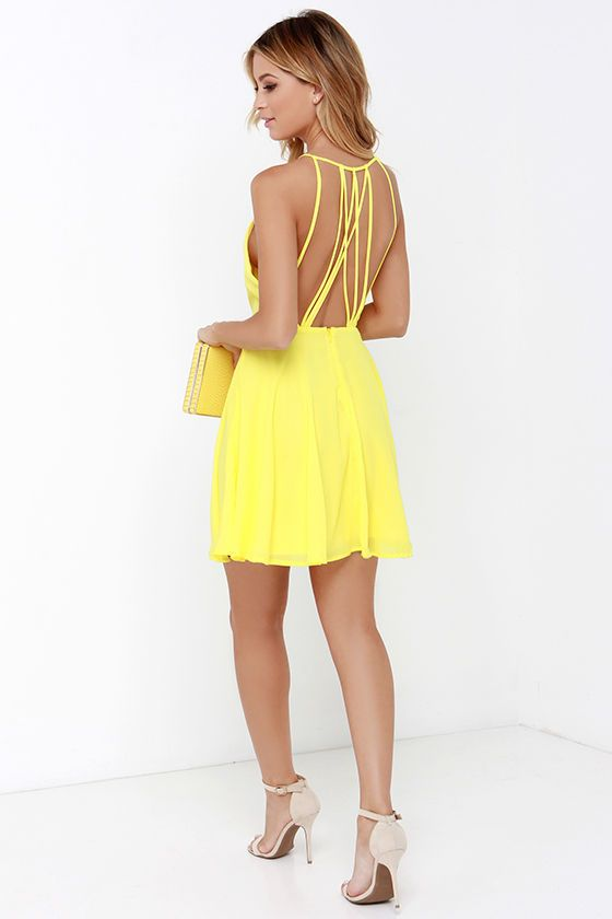 Strappy Together Yellow Dress at Lulus.com