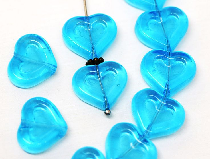 Aqua Blue Heart beads Sea Blue Czech glass beads 14mm glass hearts for jewelry making - 10pc - 2847 by MayaHoney on Etsy