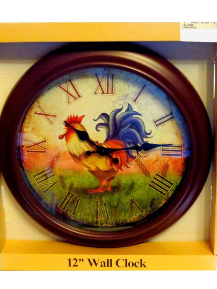 Country Rooster Kitchen Wall Clock $21.95