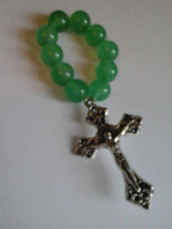 Green Aventurine Rosary Ring Catholic Single Decade Rosary