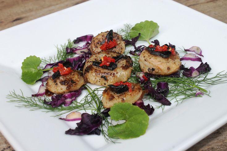 Black Garlic & Pan Seared Scallop. Full recipe at http://dentistvschef.wordpress.com/2013/01/18/super-food-black-garlic-fermented-pan-seared-scallop-ala-dentist-chef/