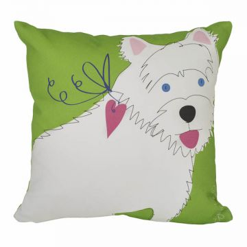 "Ever classy white Westie with a heart. 12""x12"" cotton twill with Faux-down insert. http://troskodesign.com/shop/throw-pillow-westie/"