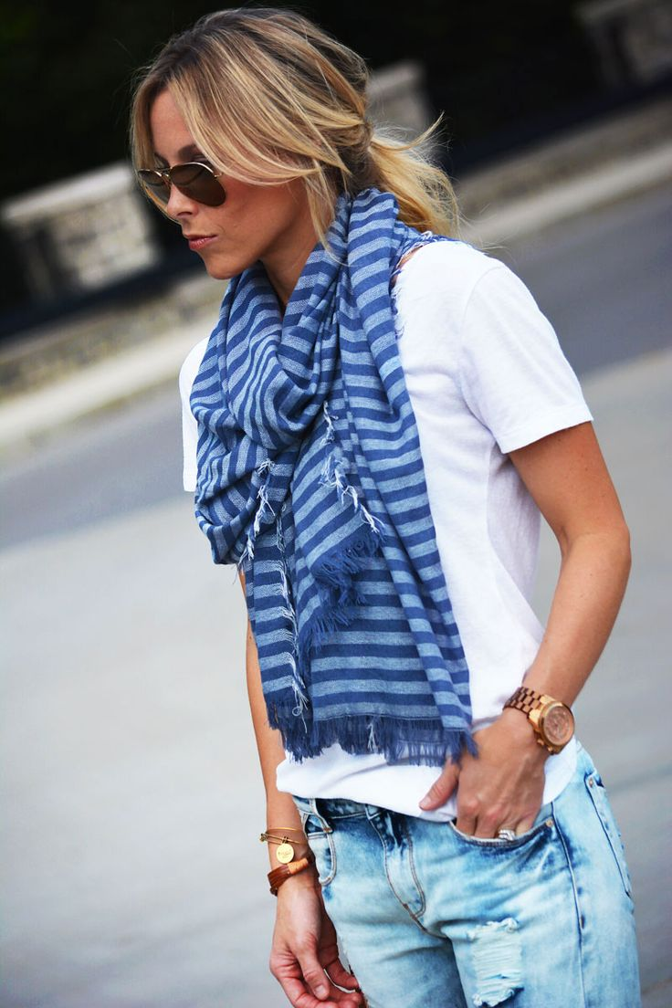 White tee + scarf.