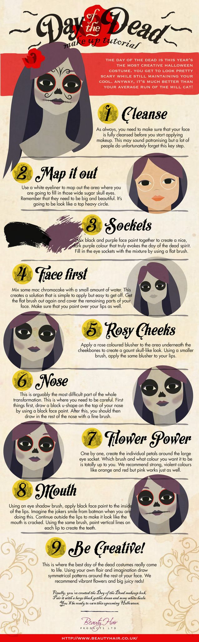 Learn how to apply the Day of the Dead look with this make up tutorial. Stand…
