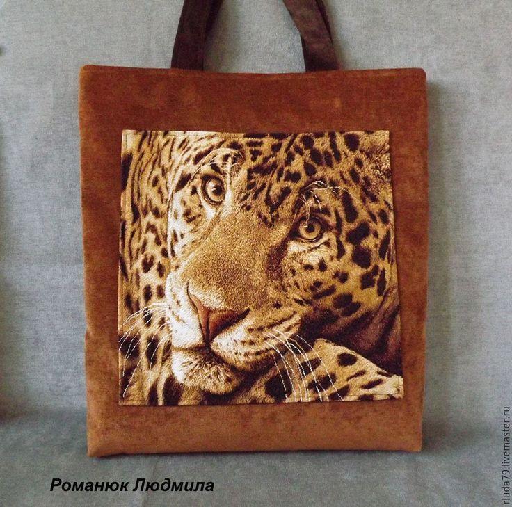 """Купить Сумка женская """"Большая кошка леопард"""" - рыжий, сумка ручной работы, сумка из гобелена"""